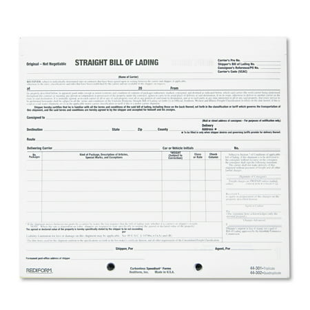 Rediform Bill Of Lading Short Form  X   ThreePart