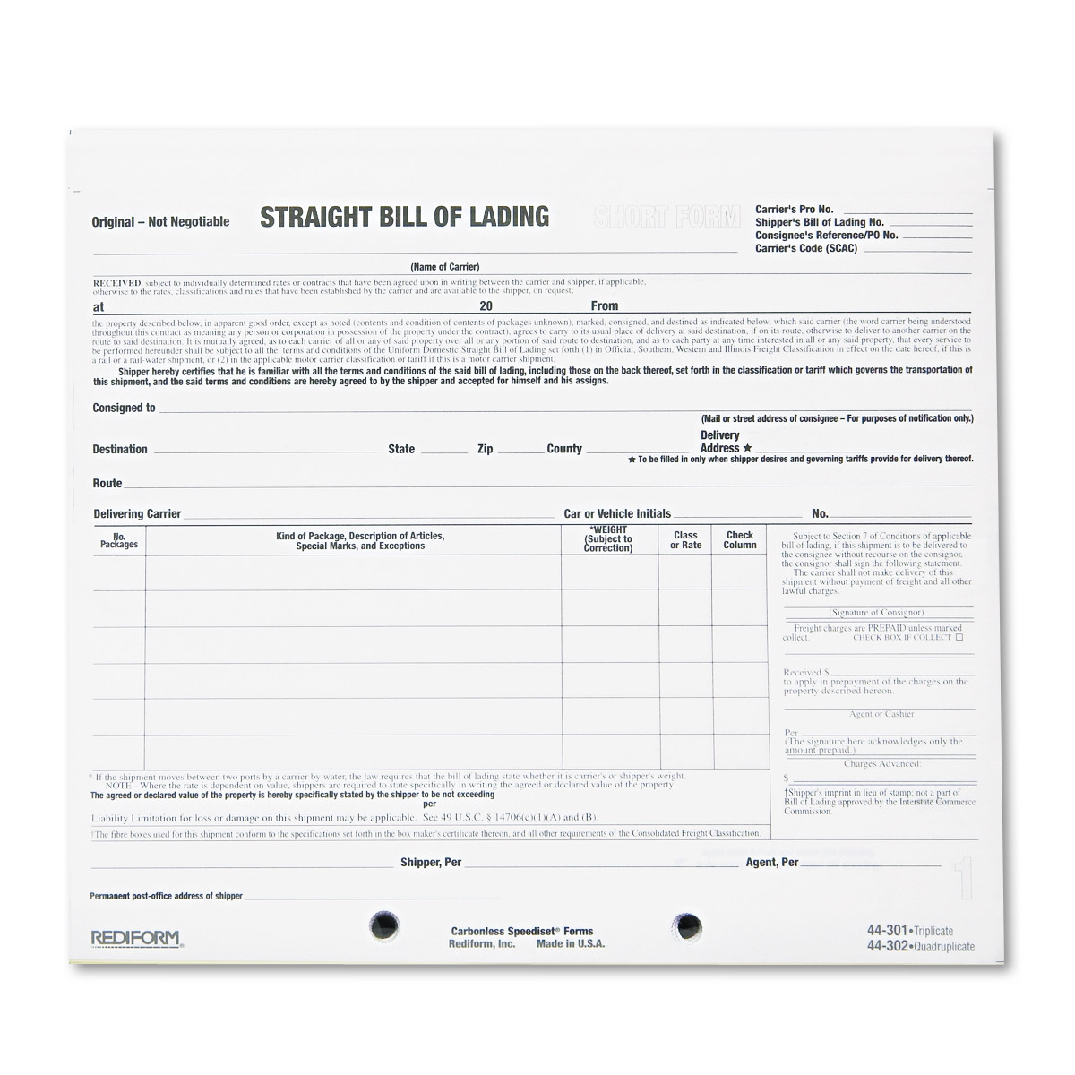 Rediform Bill Of Lading Short Form, 7 X 8 1/2, Three-Part