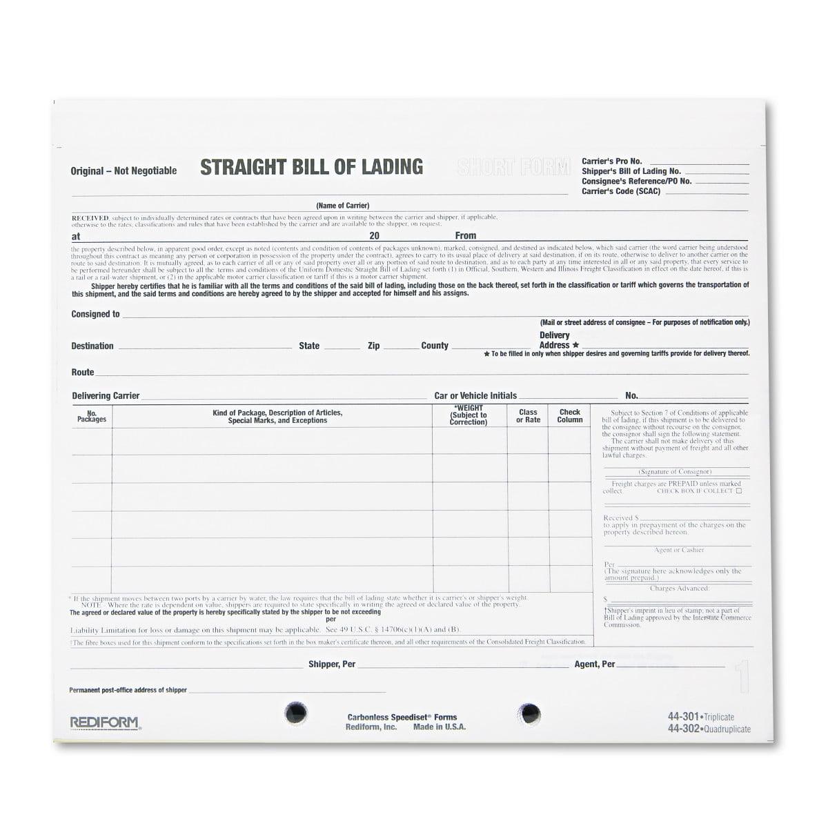 Rediform Bill Of Lading Short Form, 7 X 8 1/2, Three-Part