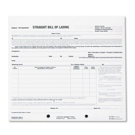 Rediform SnapAWay Bill of Lading Forms Walmart – Sample of Bill of Lading Document