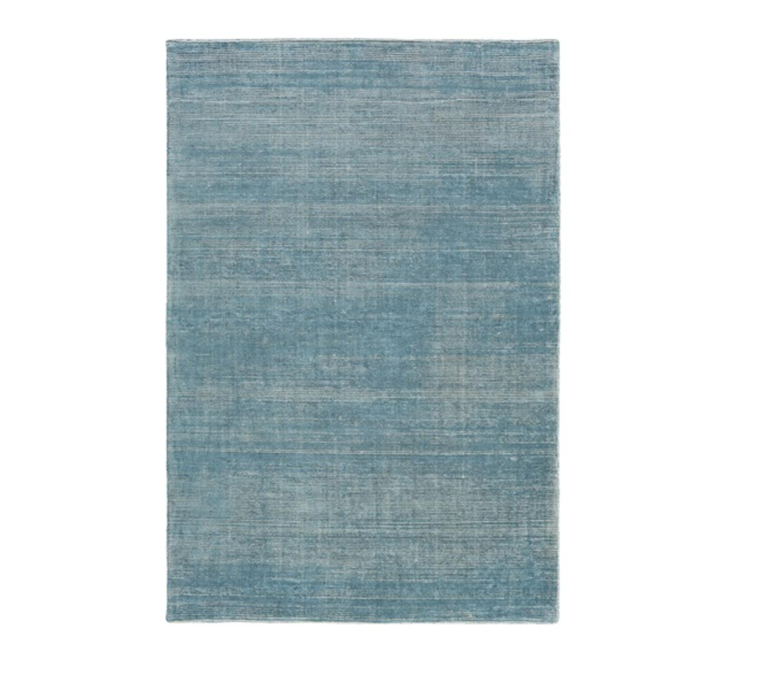 9' X 13' Faded Comfort Aqua Blue And Lion Brown Hand
