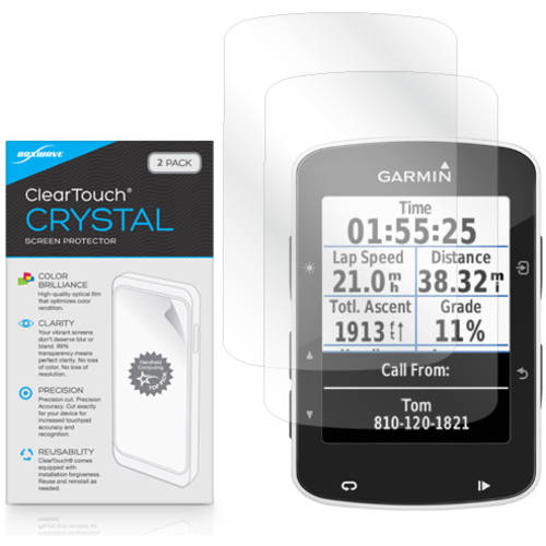 BoxWave ClearTouch Crystal HD Film Skin for Garmin Edge 520, 2-Pack