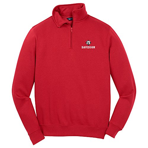 NCAA Davidson Wildcats Men's 1/4 Zip Pullover, Large, Red