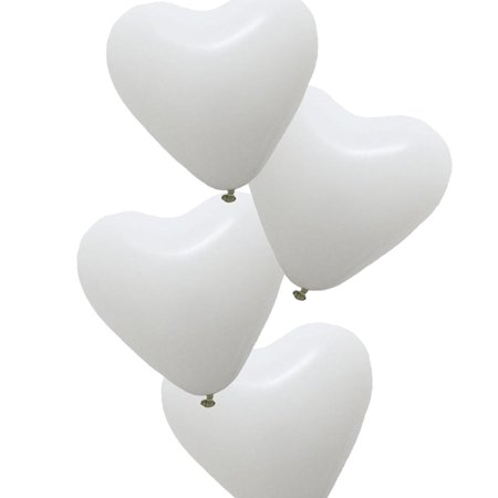 25 x Heart Shaped Party Balloons Latex Balloon Heart Balloon for Wedding Birthday Propose Anniversary Party, White