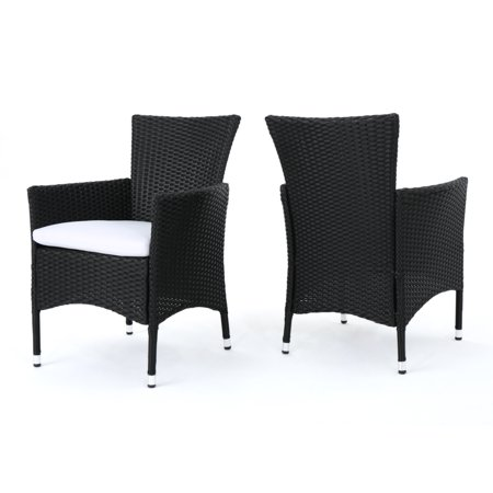 Curtis Outdoor Wicker Dining Chairs with White Water Resistant Cushions, Set of 2, Black (Outdoor Wicker Dinning Chair)