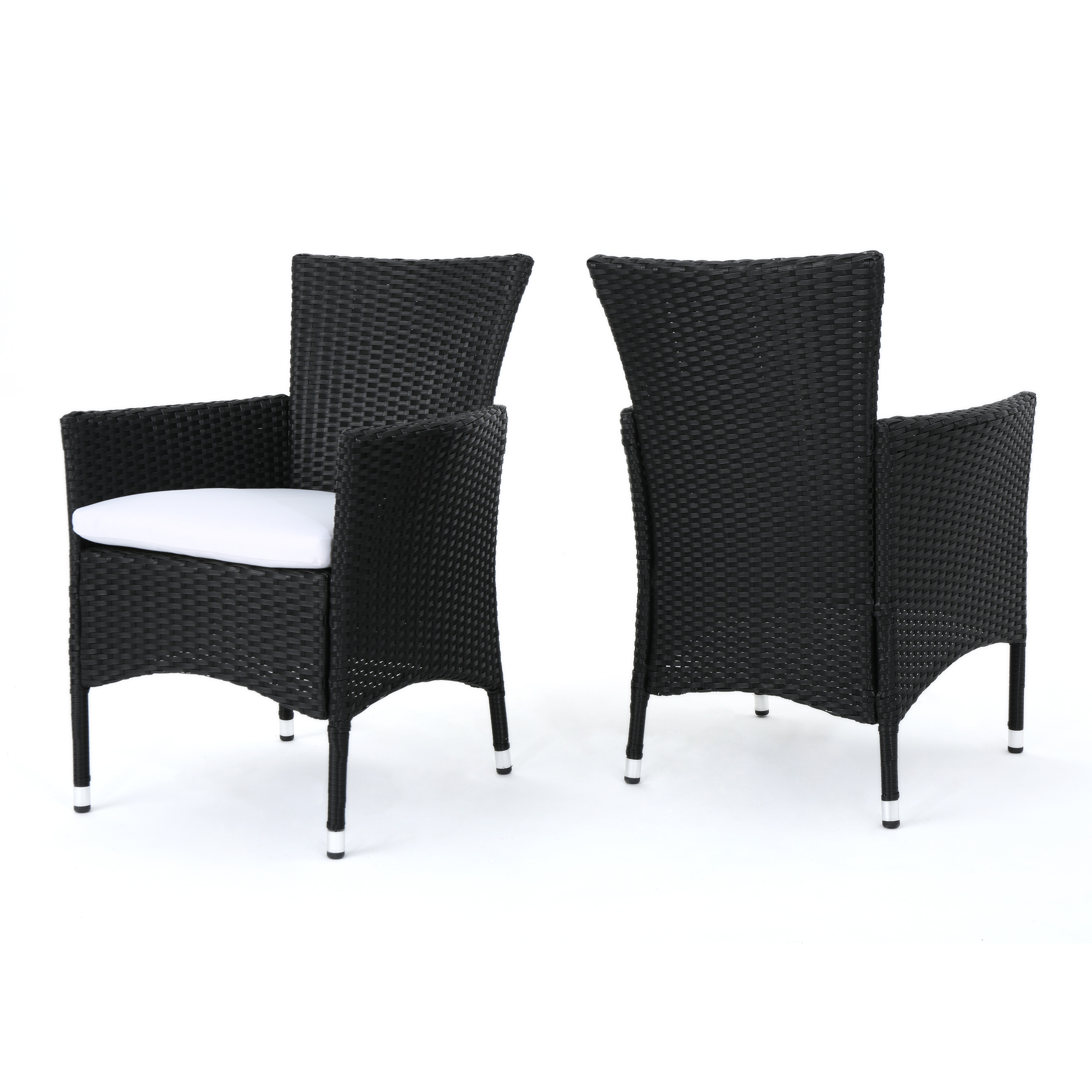 Curtis Outdoor Wicker Dining Chairs with White Water Resistant Cushions, Set of 2, Black