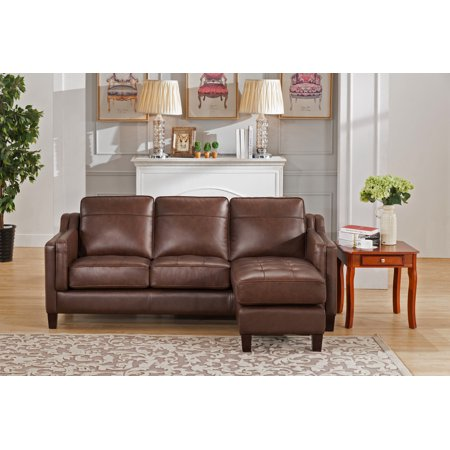 Amax Leather Acorn Reversible Leather Sofa Chaise, Brown