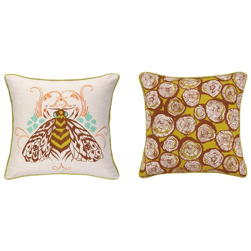 Sarah Watts Bee Reversible Printed and Embroidered Throw Pillow