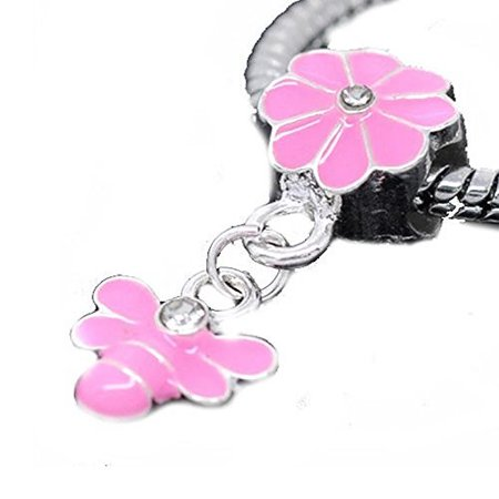 Pink Enamel Flower Bail with Bee Dangle Charm Charm European Bead Compatible for Most European Snake Chain -