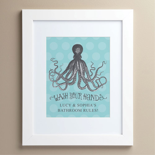 "Personalized Octopus 11"" x 14"" Framed Print"