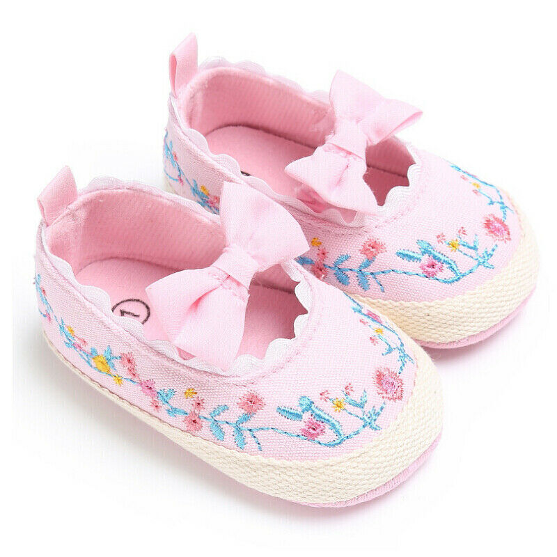 Infant Baby Baby Girl Shoes Embroidery Soft Crib Anti-Slip Floral Single Sneaker