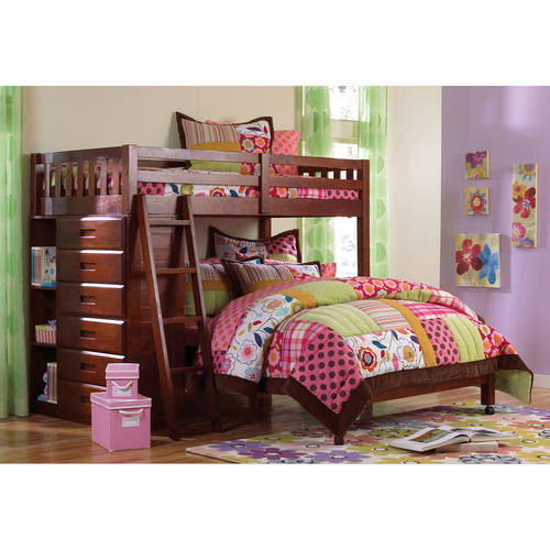 American Furniture Classics Loft Twin over Full Bunkbed with Six Drawer Chest in Merlot Finish.