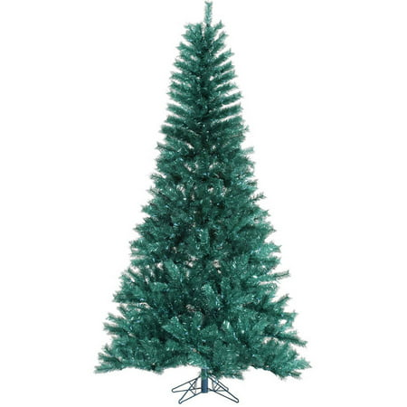 Vickerman Unlit 6.5' Aqua Tinsel Artificial Christmas Tree ...