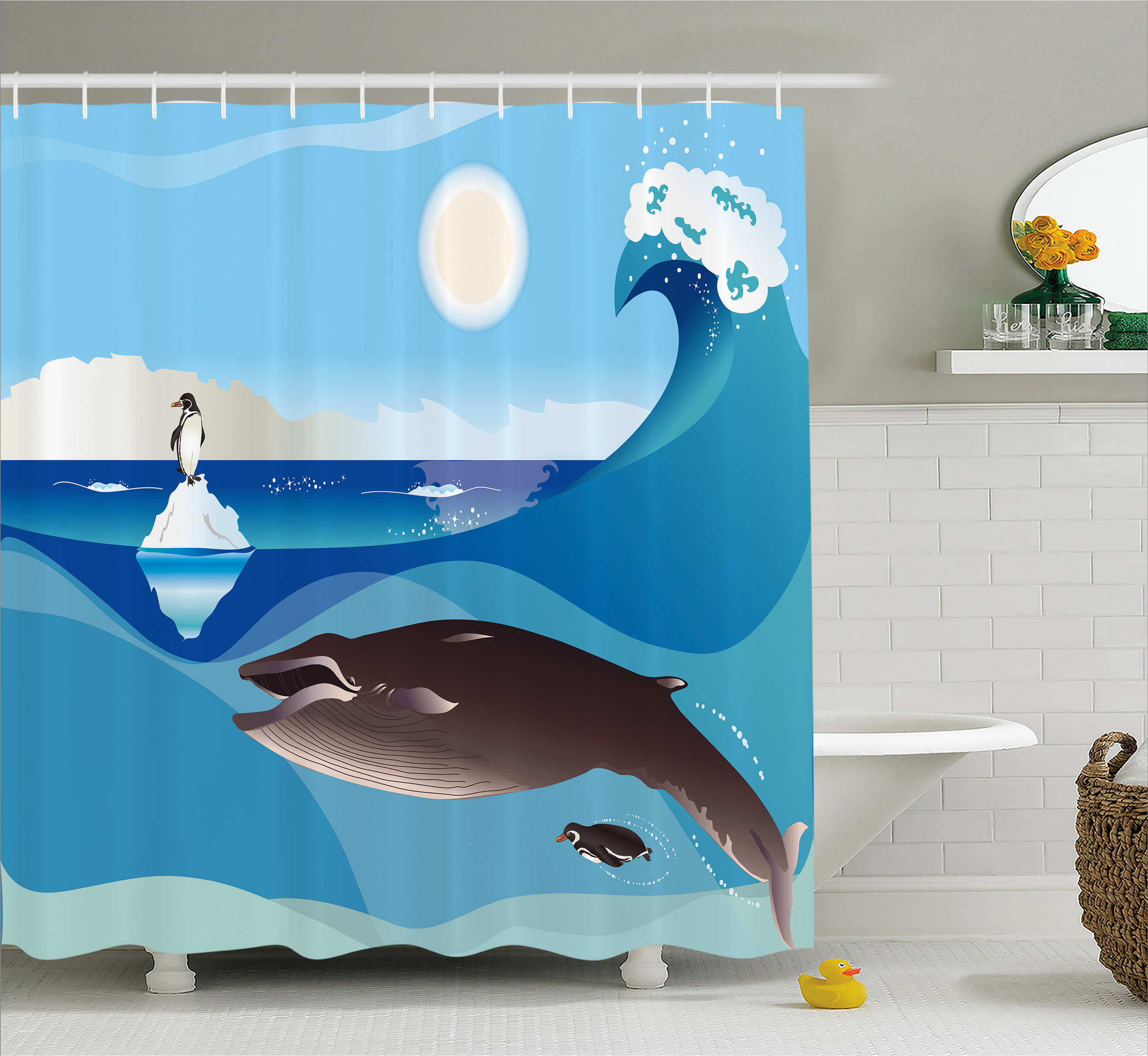 Whale Decor Shower Curtain, North Pole Graphic Landscape With Penguin Wave  And Sun Kid Room