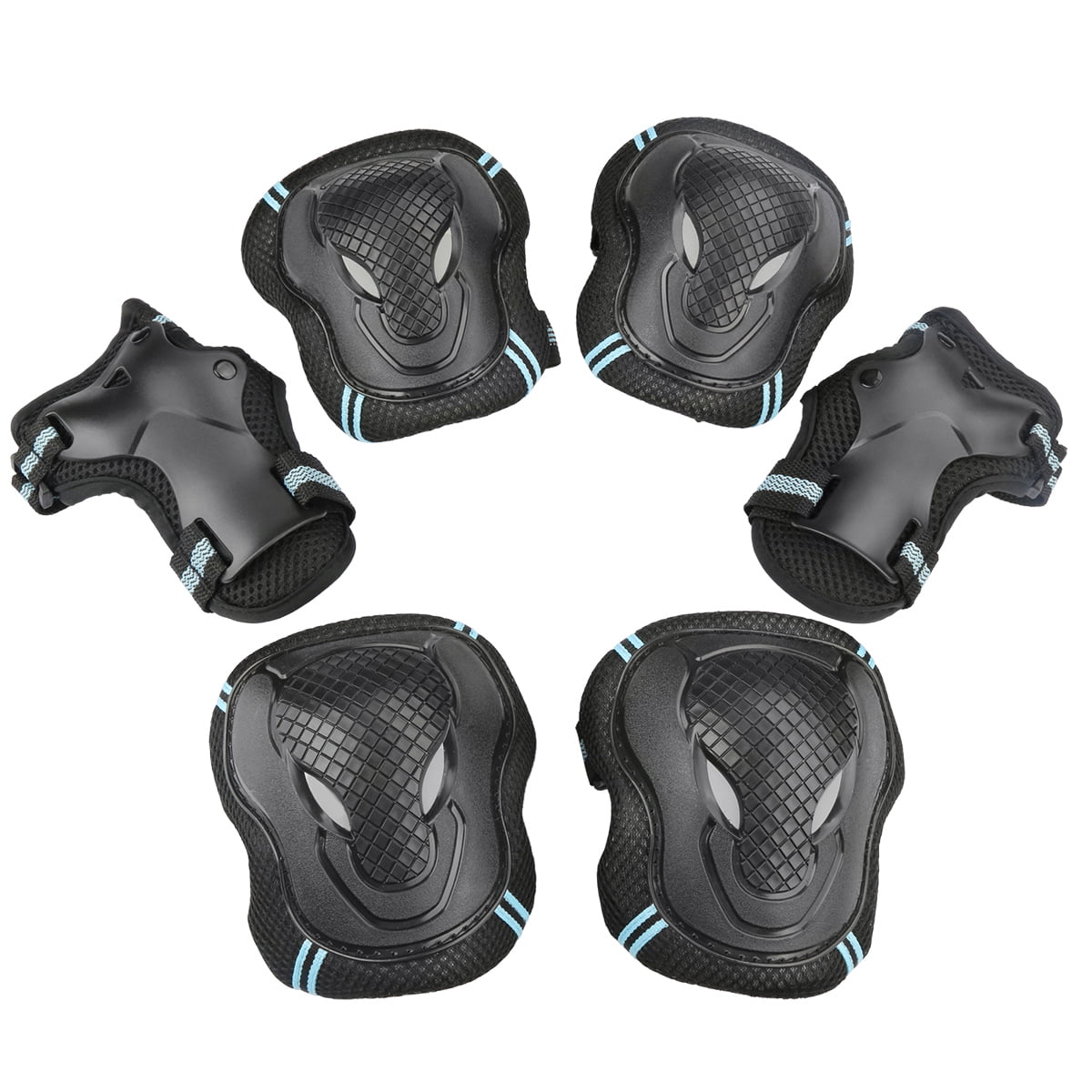 USCoco 6pcs Set Elbow Knee Wrist Protective Safety Gear Pad Guard for Child Kids Roller Skateboard Roller Blading by USCOCO