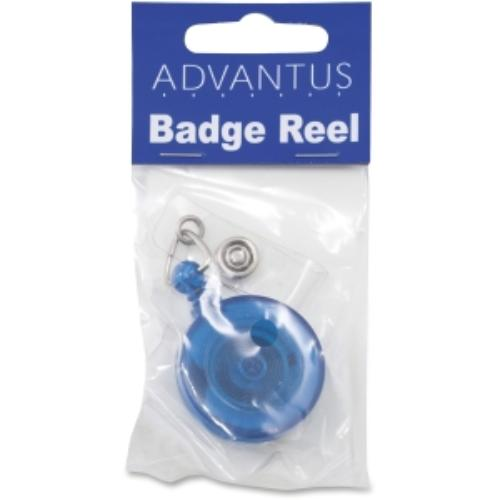 Advantus Translucent Retractable Id Card Reels - Vinyl, Nylon, Metal - 12 / Pack - Translucent Blue, Clear (avt-75472)