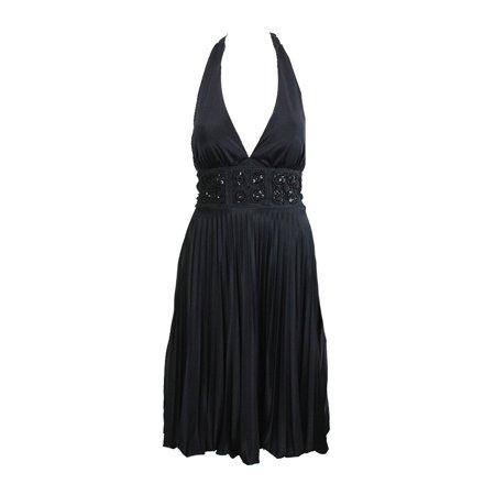 Betsy Adam Black Empire Waist Halter Pleated Blouson Dress 6