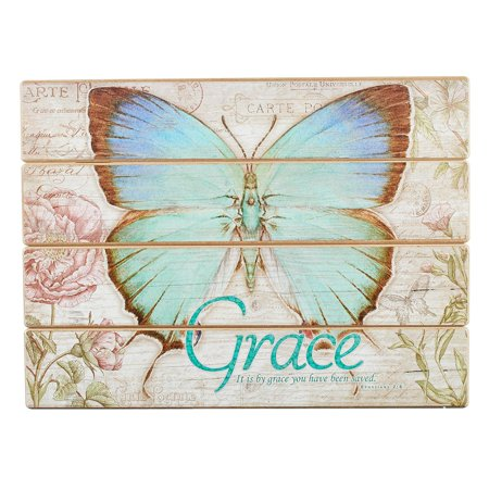 19.99: Plaque Wall Wood Btfly Grace E (Other)