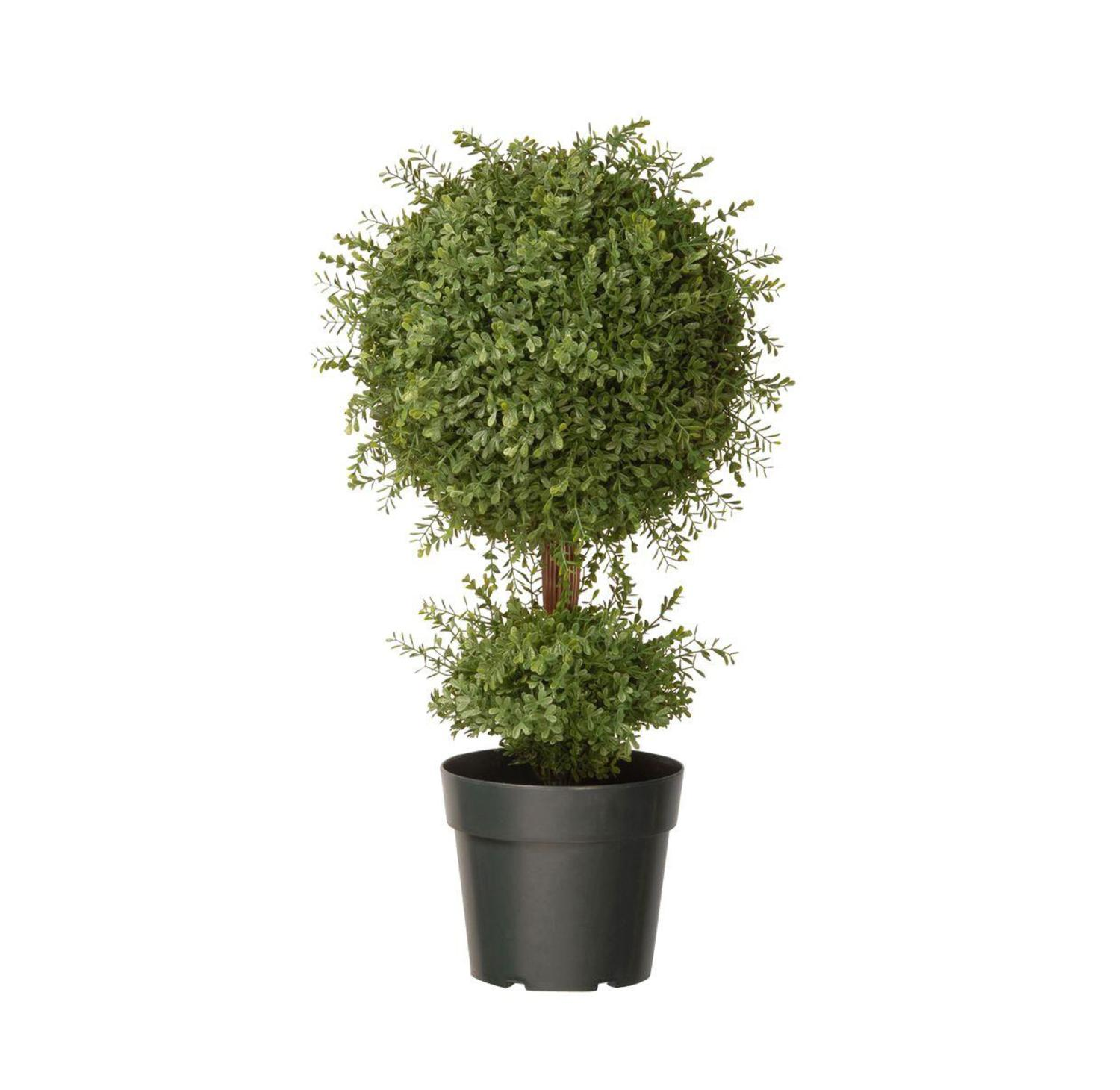 "30"" Potted Artificial Two-Tone Green Mini Tea Leaf Ball Topiary"