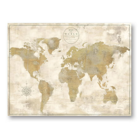 Maps Paper (Lovely Brown and Tan Rustic World Map by Marie Elaine Cusson; One 14x11in Unframed Paper Poster)
