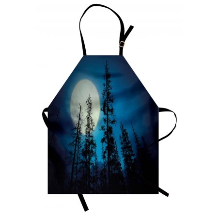 Dark Blue Apron Low Angle View of Spooky Mysterious Forest with Tall Trees Big Full Moon, Unisex Kitchen Bib Apron with Adjustable Neck for Cooking Baking Gardening, Blue Black White, by Ambesonne (Big And Tall Apron)