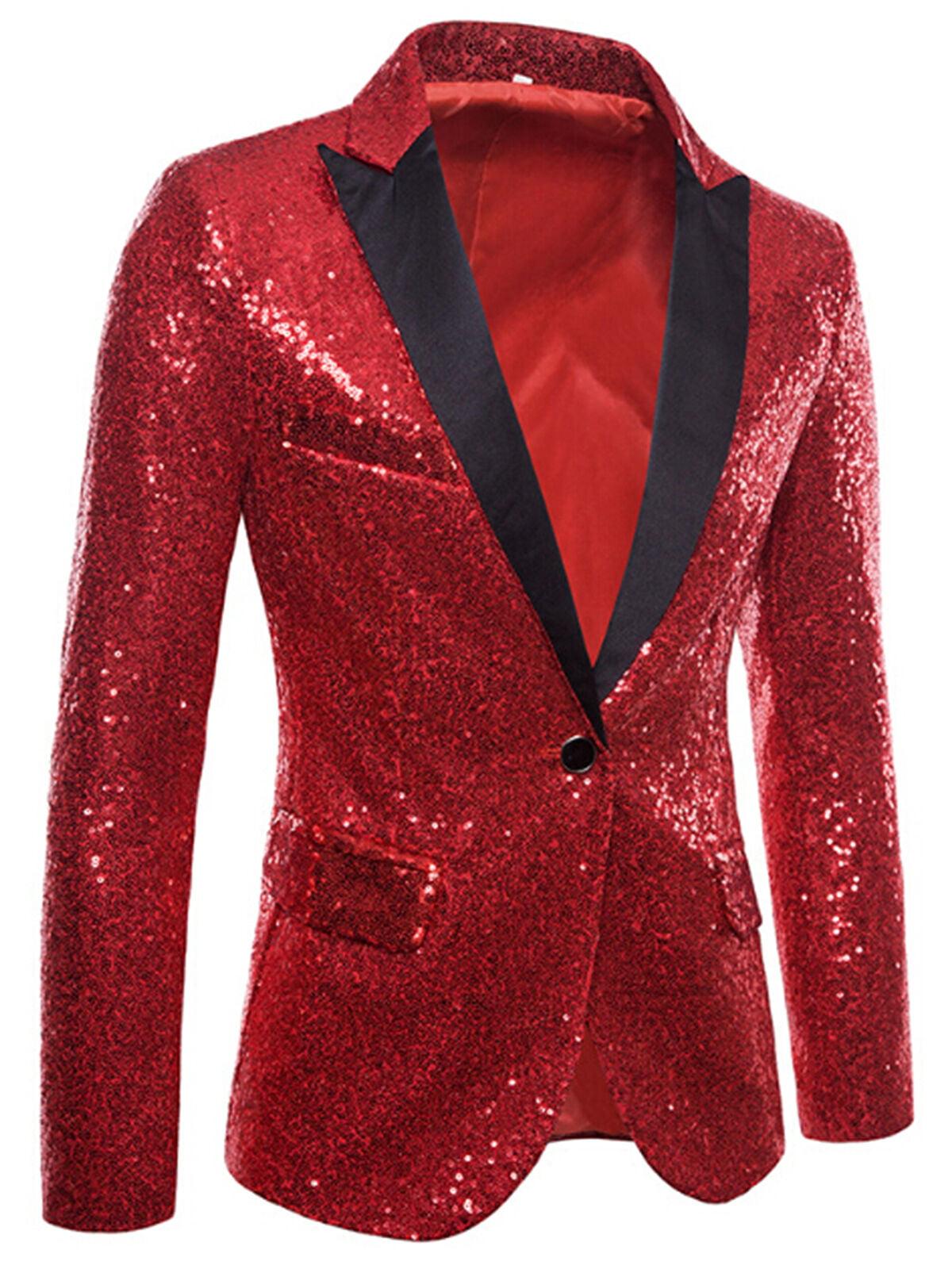 vastwit Kids Boys Shiny Sequins Suit Jacket Blazer One Button Tuxedo for Wedding Party Banquet Prom