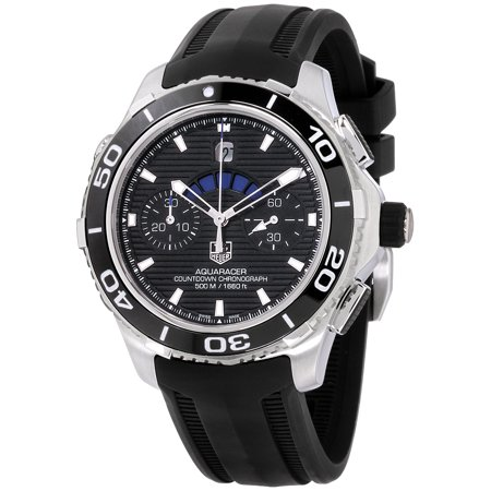 Tag Heuer Mens Link (Tag Heuer Aquaracer Black Dial Silicone Strap Men's Watch CAK211AFT8019)