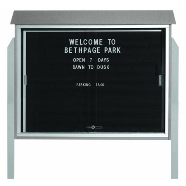 Aarco Products  Inc. PLDS3645LDPP-2 Light Grey Sliding Door Plastic Lumber Message Center with Letter Board - Posts Included - 36 in.H x 45 in.W