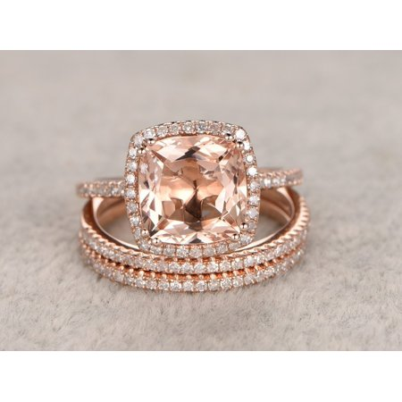 Halo Wedding Set - Big 3 Carat Cushion Cut Morganite and Diamond Halo Trio Wedding Ring Set in Rose Gold