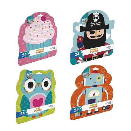Four 24 Piece Jigsaw Puzzle Set for Kids Ages 3+ Jigsaw Puzzles for Kids. Cupcake, Owl, Pirate & Robot Designs