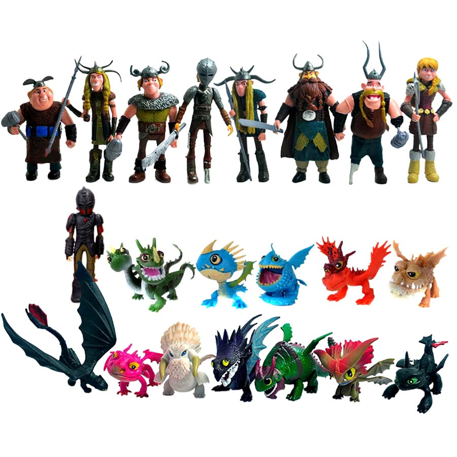 Antsir 21 pcs How to Train Your Dragon Action Figures Hiccup Astrid Toothless Toys