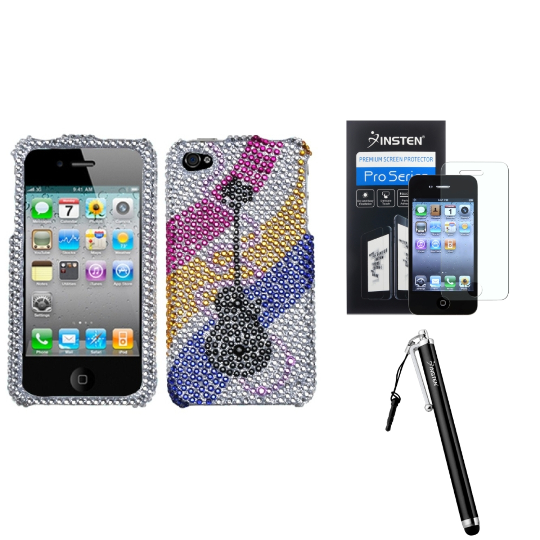 Insten Ribboned Guitar Diamante Phone Case For Apple iPhone 4 4S + Stylus + Protector