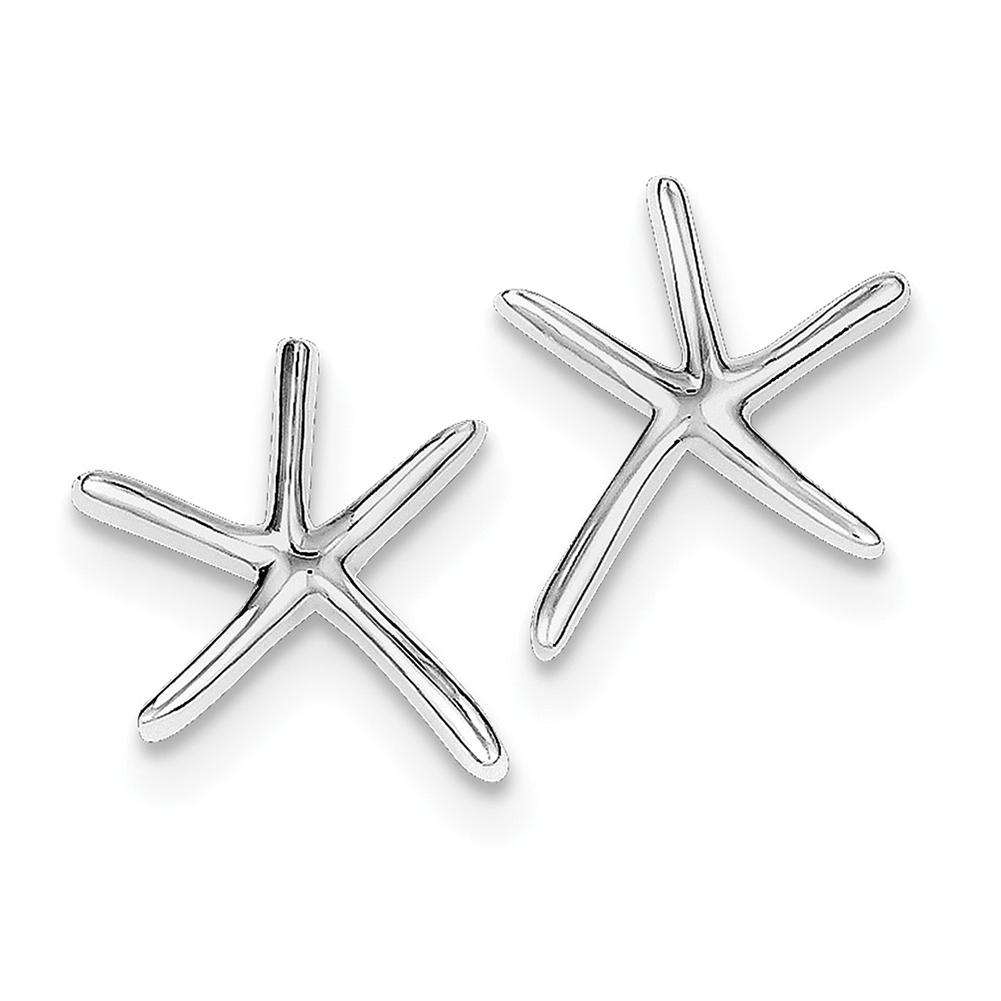 Lex & Lu Sterling Silver w/Rhodium Starfish Post Earrings