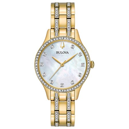 Bulova Women's Gold Tone Crystal Watch Box Set with Bangle Bracelets