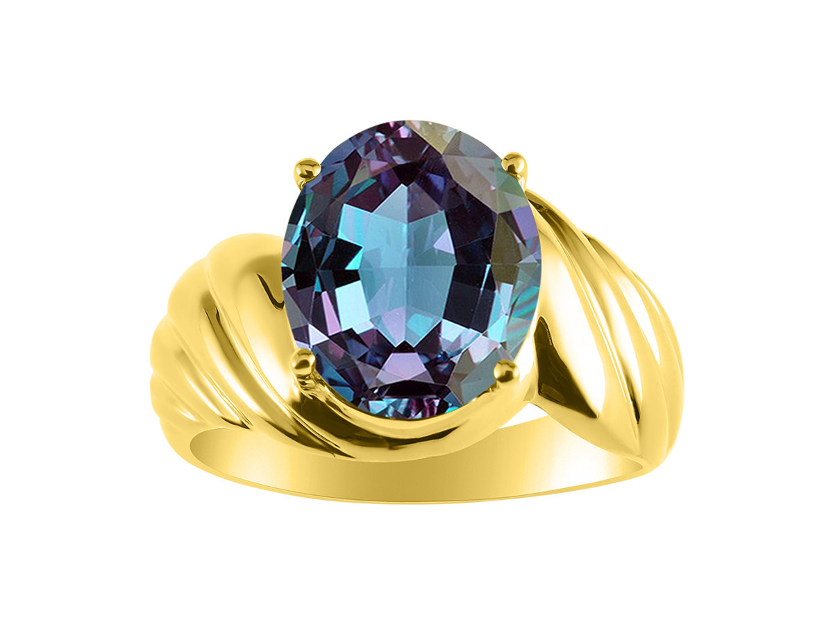 Diamond /& Simulated Alexandrite Ring Set In Yellow Gold Plated Silver Color Stone Birthstone
