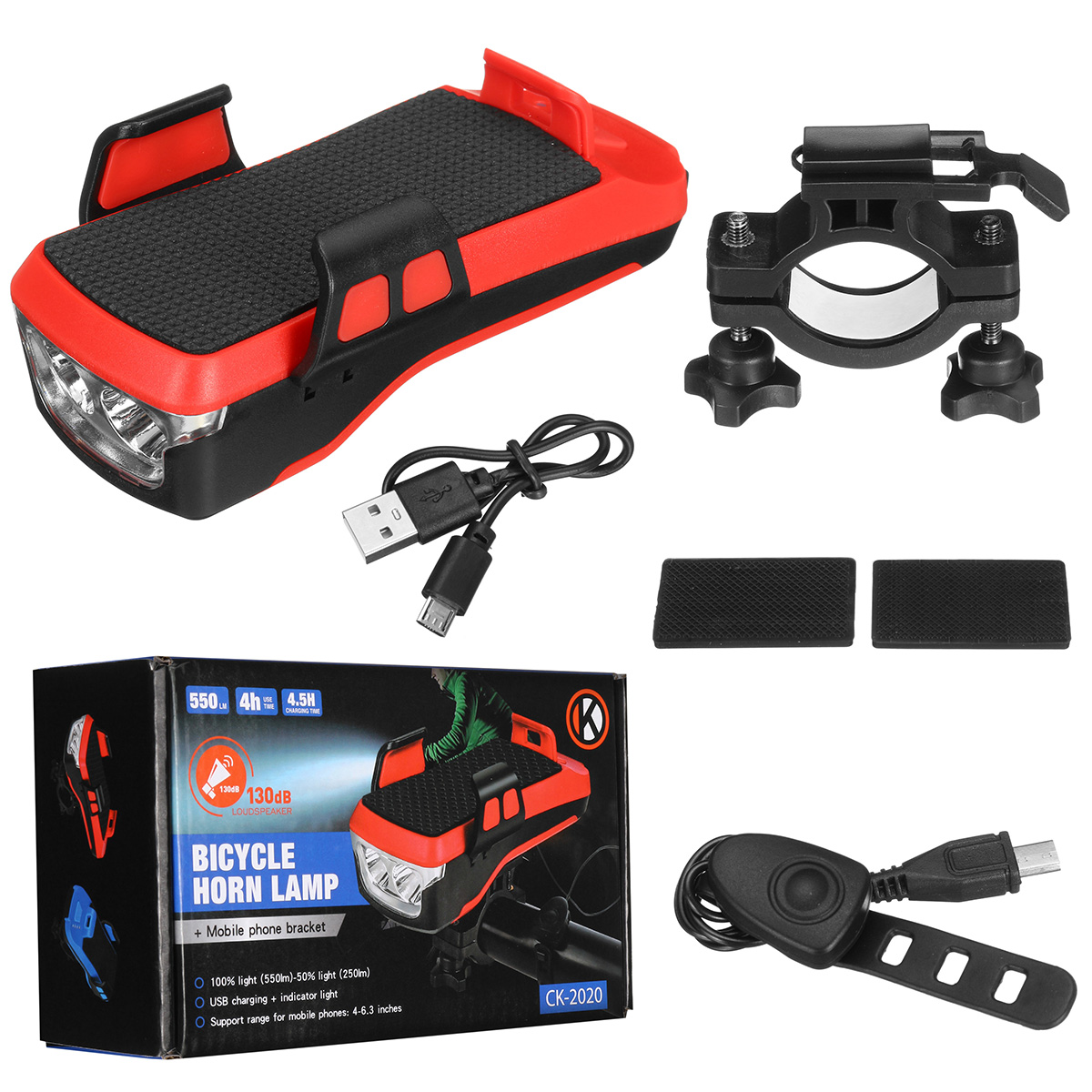 Sudovix Rechargeable Bike Light Front and Back Set,Ultra Bright Headlight with Phone Mount and 130dB Horn,Fast Charge Back Taillight,Built-in 4000mAh Rechargeable Battery