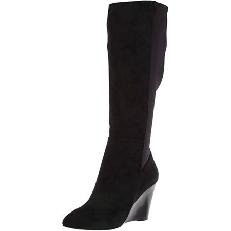 Charles David Energy Fashion Boot Black Suede Wedge Knee High Boots (8)