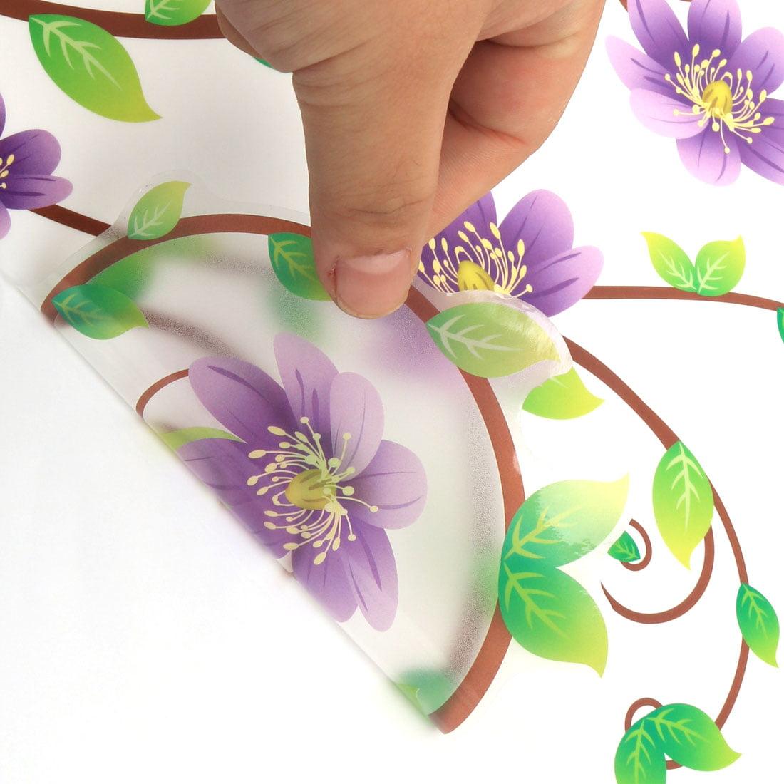 Family Decor Floral Butterfly Print Cabinet Wall Sticker Purple Green 90 x 60cm - image 2 de 4