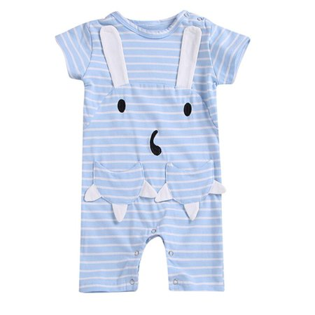 Summer Striped Short Sleeved Girls Baby Romper Cotton Newborn Body Suit Baby Pajama Boys Animal Rompers