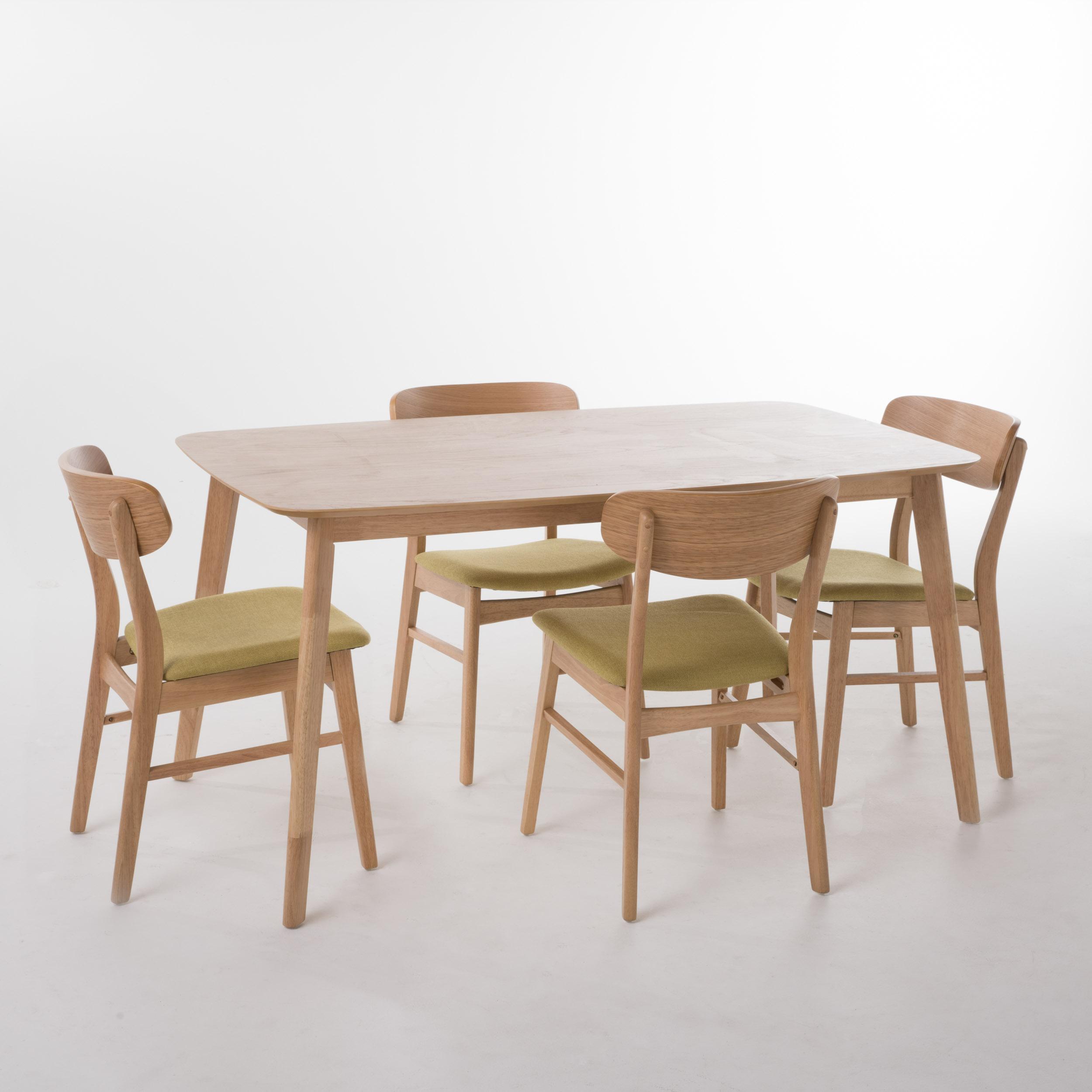 """Elmay 60"""" Rectangular 5-Piece Dining Set, Green Tea/ Natural Oak Finish"""