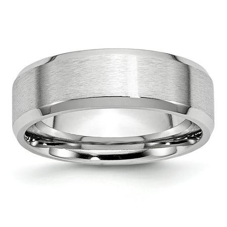 Mia Diamonds Cobalt Beveled Edge Satin and Polished 7mm Wedding Engagement Band Ring Size - 12 7mm Diamond Designer Band