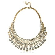 Ladies Three Tier Iced Out Bib Necklace 16 Inch Adjustable with Matching Earrings Designer Inspired Jewelry Set (Goldtone / Clear)