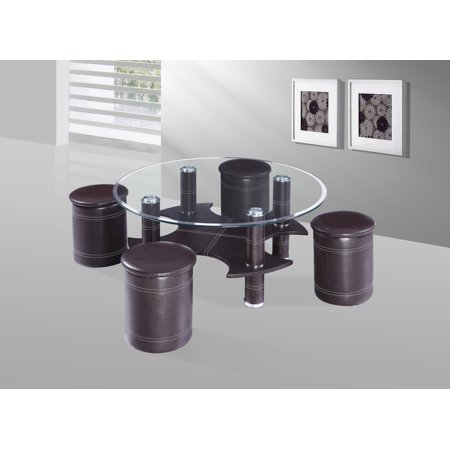 Best Quality Furniture Round Coffee Table w Clear Glass Top and Black Faux Leather includes 4 Stools CT340 ()