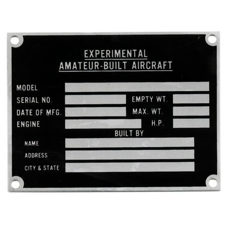 Amateur-Built/Experimental Aircraft Data Plate, Sport Aviation