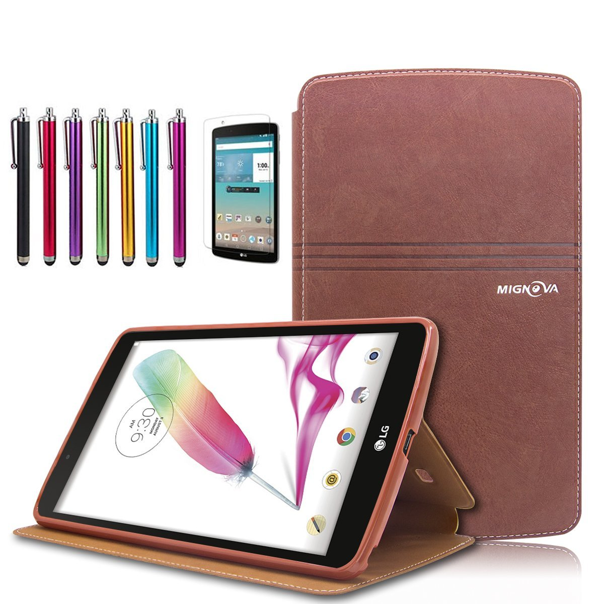 Mignova LG G Pad F 8.0 / G Pad II 8.0 Folio Case - Premium PU Leather Cover [Fit (4G LTE AT&T Model V495 / T-Mobile Model V496 / US Cellular Model UK495) & G Pad 2 8.0 V498] 8-Inch Tablet (Brown)