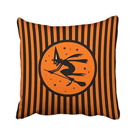 WinHome Halloween Witch On Broom Orange Stripe Vintage Funny Popular Polyester 18 x 18 Inch Square Throw Pillow Covers With Hidden Zipper Home Sofa Cushion Decorative Pillowcases](Halloween Funny Cover Photo)
