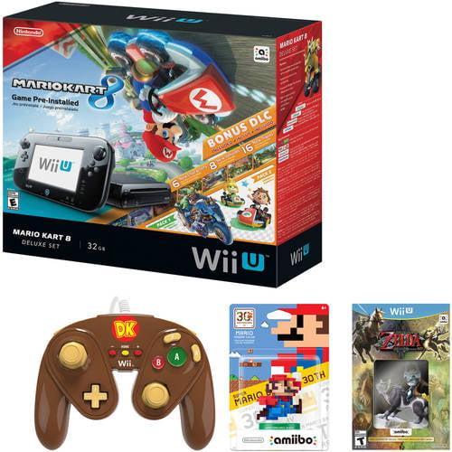 Nintendo Wii U Console Bundle with Bonus Controller, Game and amiibo