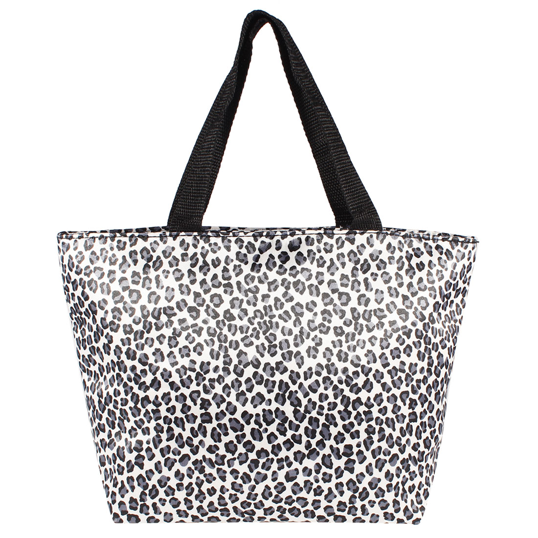 Woman Portable Blue White Leopard Style Shopping Bag Tote Bag