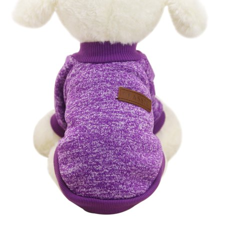 Purple Classic Fashion Pet Coat Dog Winter Jacket Clothes Casual Pet Sweater Clothing Elastic Costume Two Feet Sports Hoodies Jacket XS for $<!---->