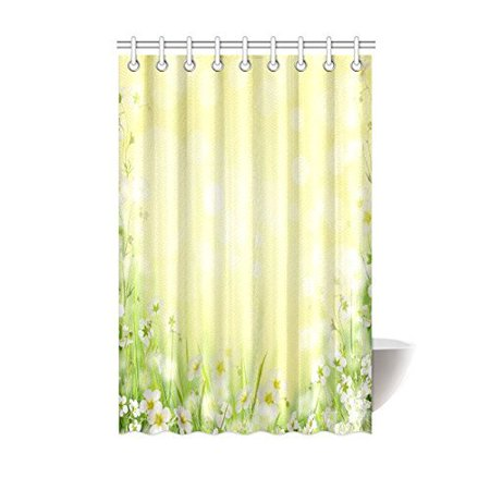 MYPOP Sunshine Floral House Decor, Natural Field Grass with White Flowers Springtime Blurred Polyester Fabric Bathroom Shower Curtain 48 X 72 Inches, Yellow White Green